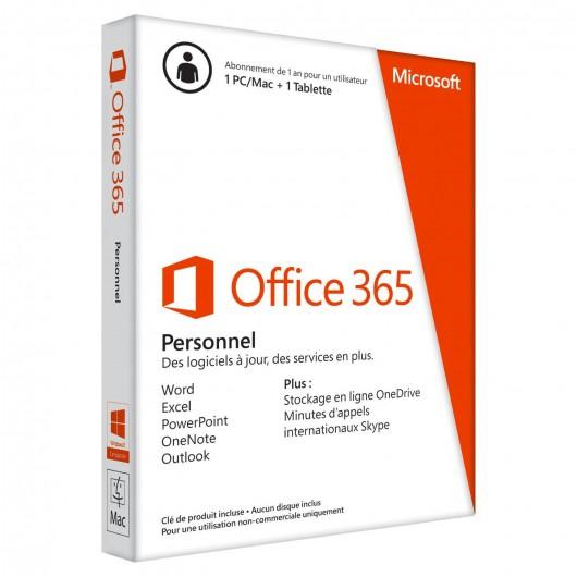 MICROSOFT Office 365 Personel 32 - 64 bits Francais - 1 PC Windows ou Mac + 1 tablette -  1 AN