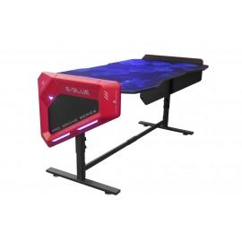 Bureau Gamer Rétro Eclairé LED RGB Largeur 1m65 – E-BLUE - EGT003 pour Gaming avec hauteur ajustable