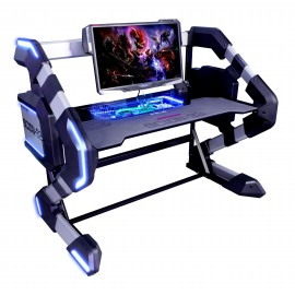 Bureau Gamer Rétro Eclairé LED RGB – E-BLUE - EGT546 - Station Gaming 2 en 1 – Bureau Gamer RGB LED + Barebone