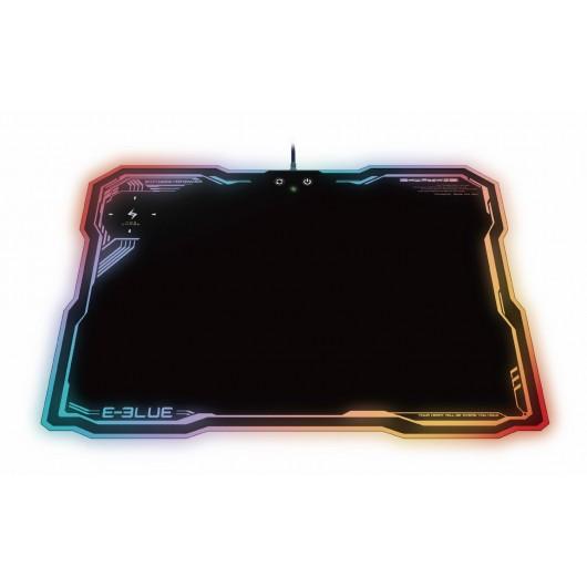 Tapis de souris Gamer avec Chargeur sans fil NFC à induction intégré et rétro-éclairé RGB LED - E-BLUE - EMP013BKAA-IU